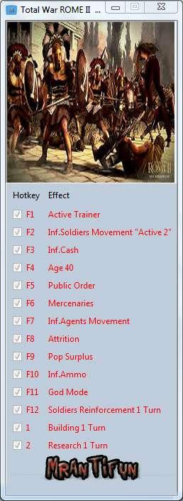 Total War: Rome II trainer