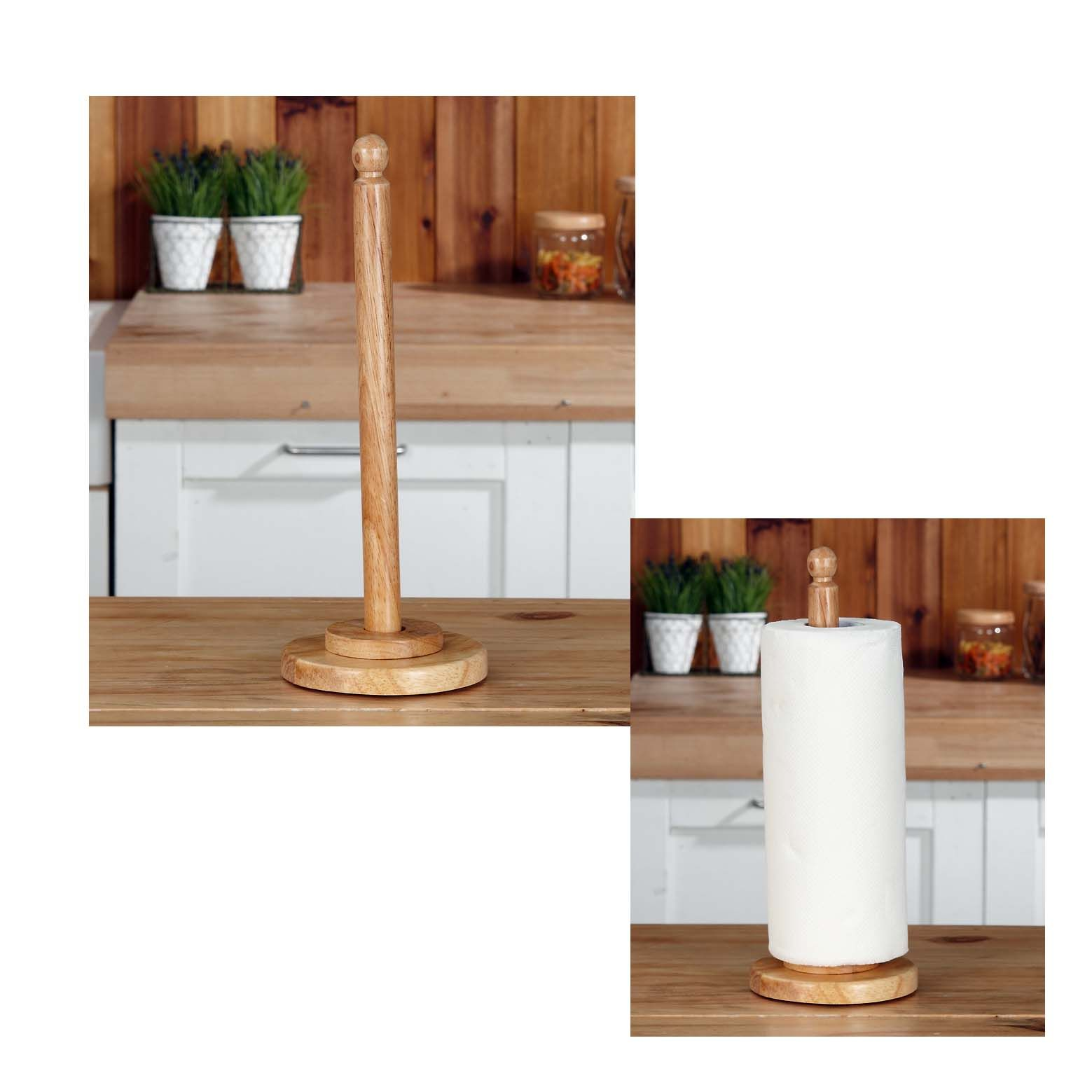 Rubber Wood Kitchen Paper Towel Holder Towel
