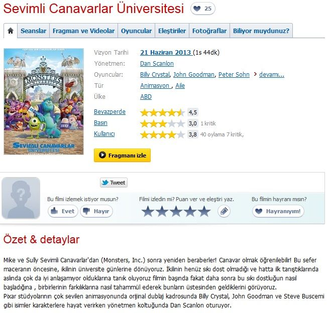 Sevimli Canavarlar Üniversitesi - 2013 BRRip XviD - Türkçe Dublaj Tek Link indir